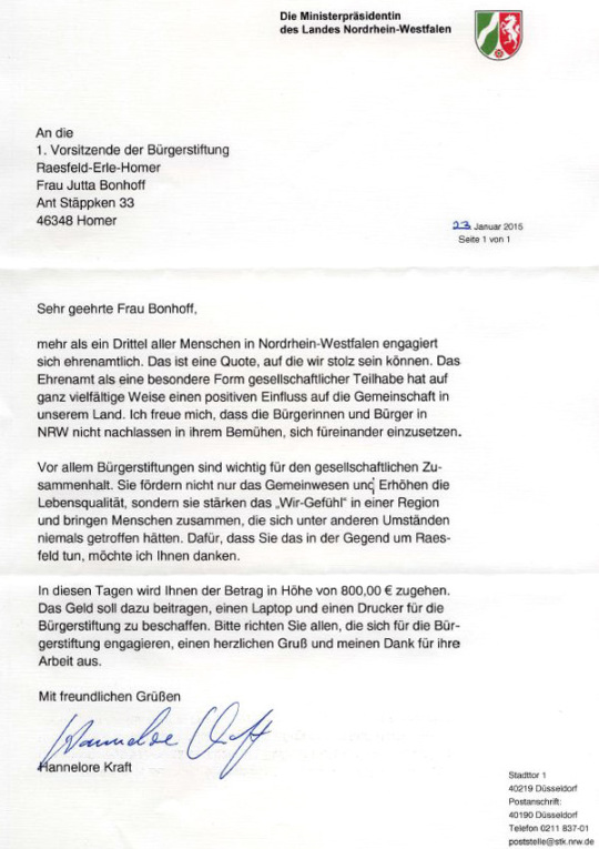 Ministerpräsidentin Hannelore Kraft: Schreiben vom 23. Jan. 2015