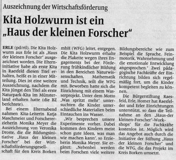 Die Borkener Zeitung berichtete am 9. Mai 2019.